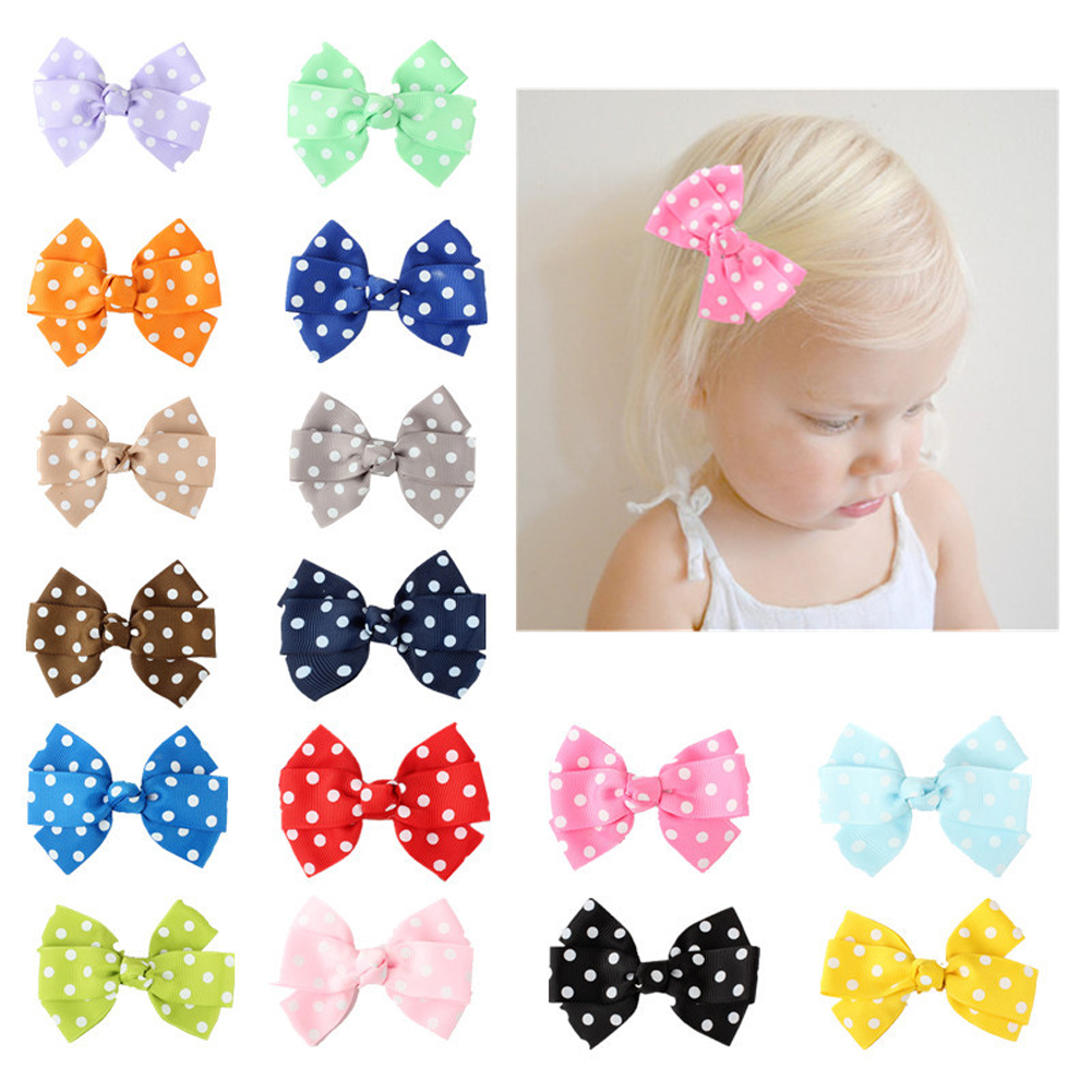 10PCS Baby Girl toddlers hairband Hair Bows Clips with elastic headbands-CA