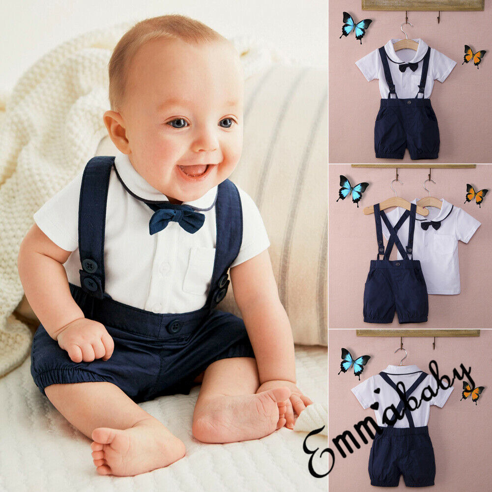 17ef1df5aa Details about 2PCS Baby Clothes Kid Boy Wedding Party Formal Suit Top+Pants  Tuxedo Outfits Set