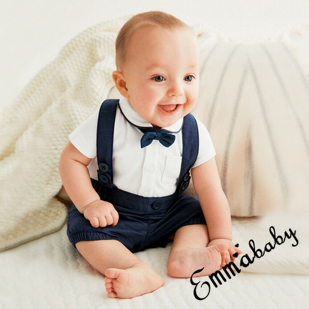 f6a36a969 Details about 2PCS Baby Clothes Kid Boy Wedding Party Formal Suit Top+Pants  Tuxedo Outfits Set