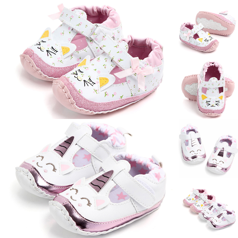 83ddb133a33da Details about Baby Girls Unicorn Sneakers Leather Holiday Crib Soft First  Walker Shoes New