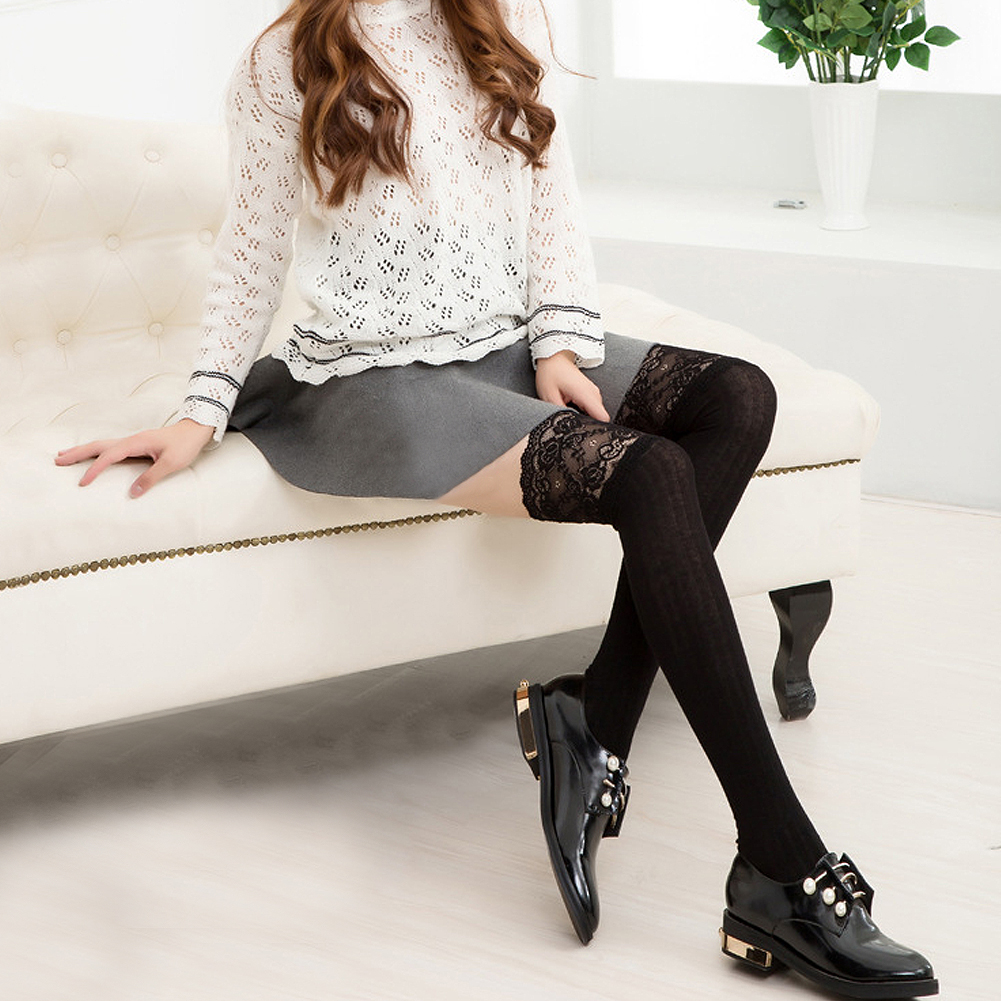 219952fa459 Details about Sexy Women Girl Over The Knee Long Socks Lace Knit Warm Soft Thigh  High Stocking