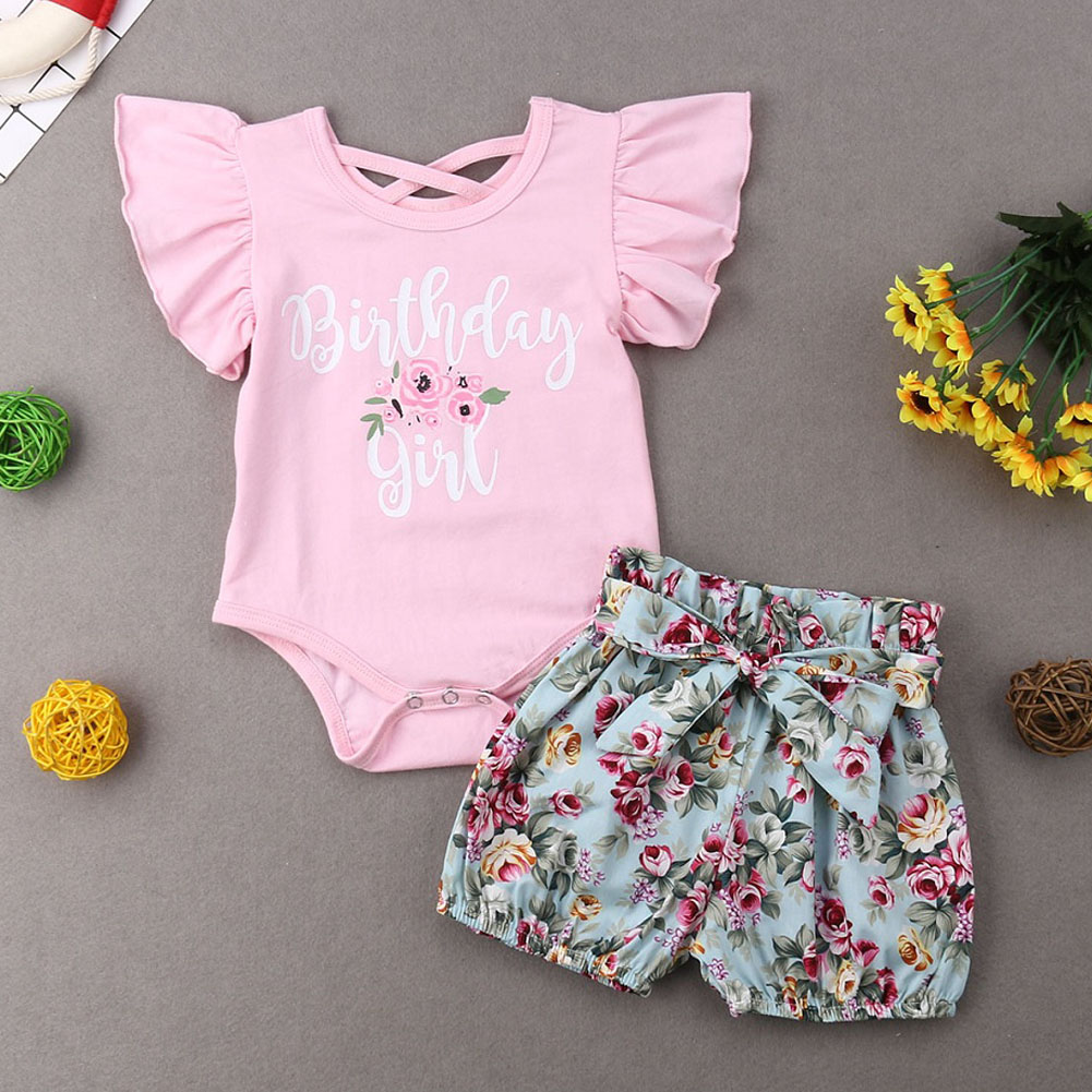 US Toddler Newborn Baby Girl Summer Romper Tops Floral Shorts Outfits Clothes