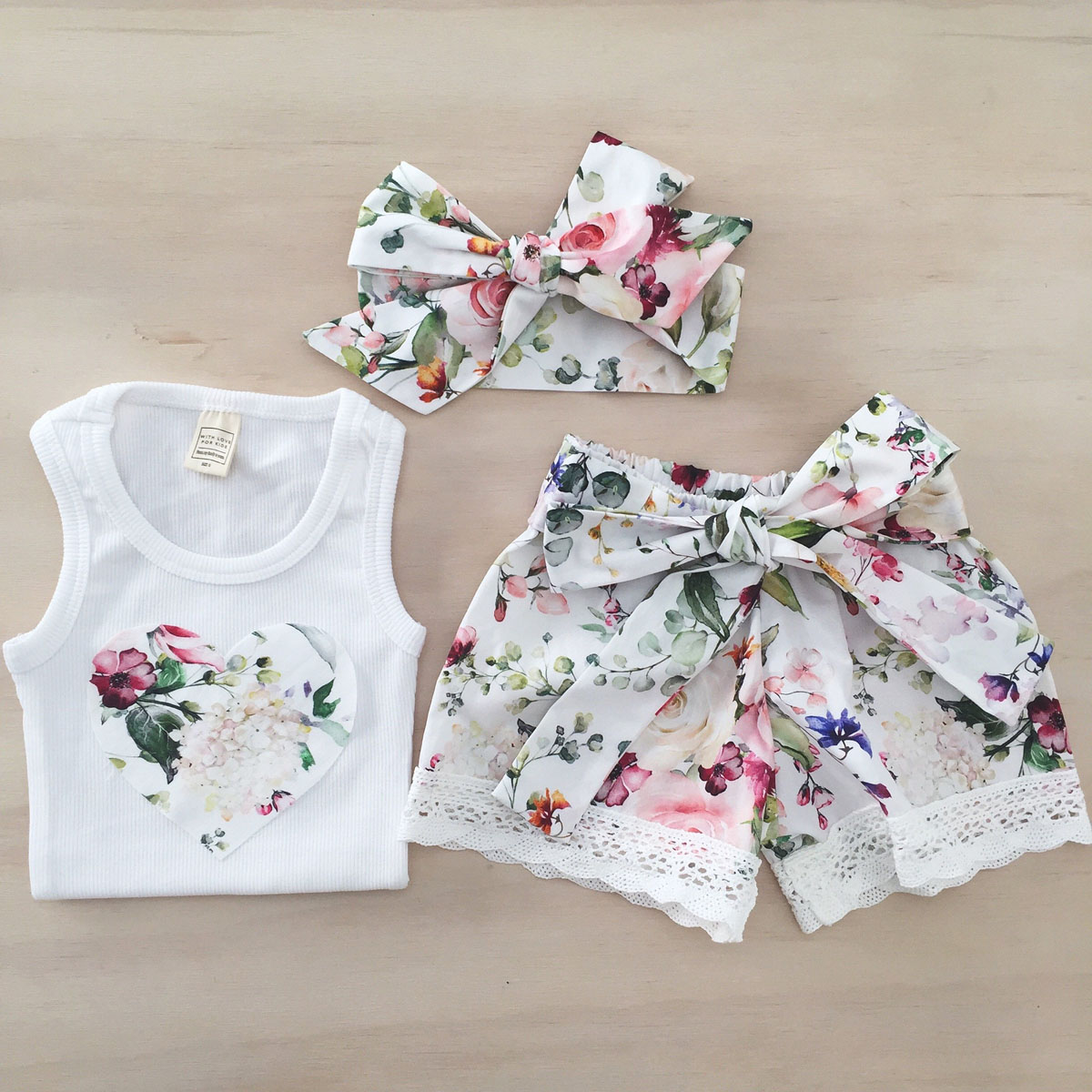Toddler Kid Baby Girls Floral Summer Tops Vest Pants Shorts Outfits Clothes Set
