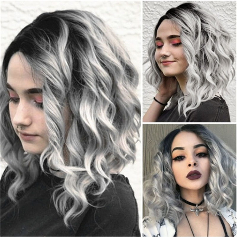 New Women Gray Short Natural Curly Wavy Wig Synthetic Hair Cosplay Full Wigs Lace Uk From Keerkeshangmao 33 25 Dhgate Com