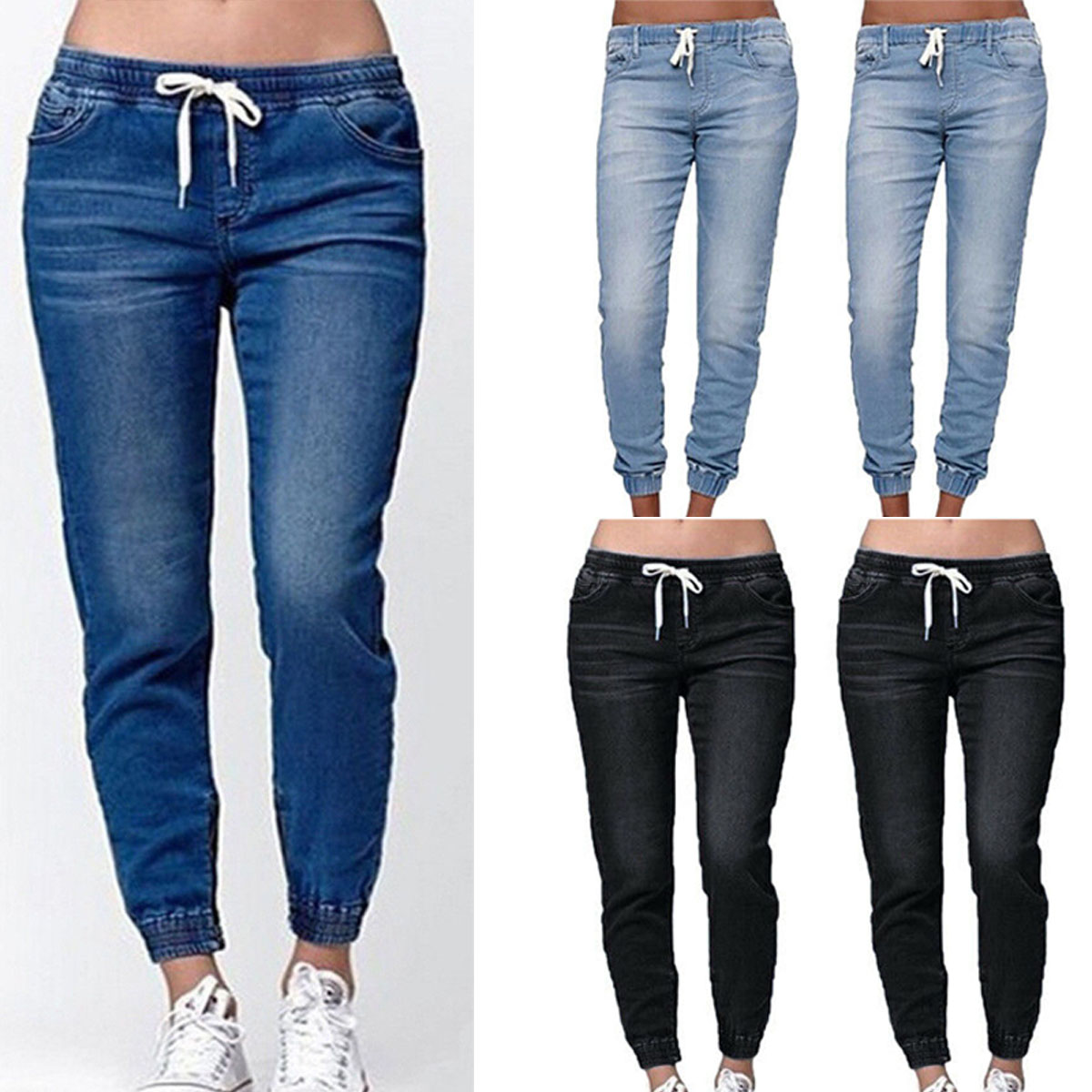 limited sale world-wide free shipping finest fabrics Details about Fashion Women's Casual Denim Jogger Pants Ladies Drawstring  Elastic Waist Jeans