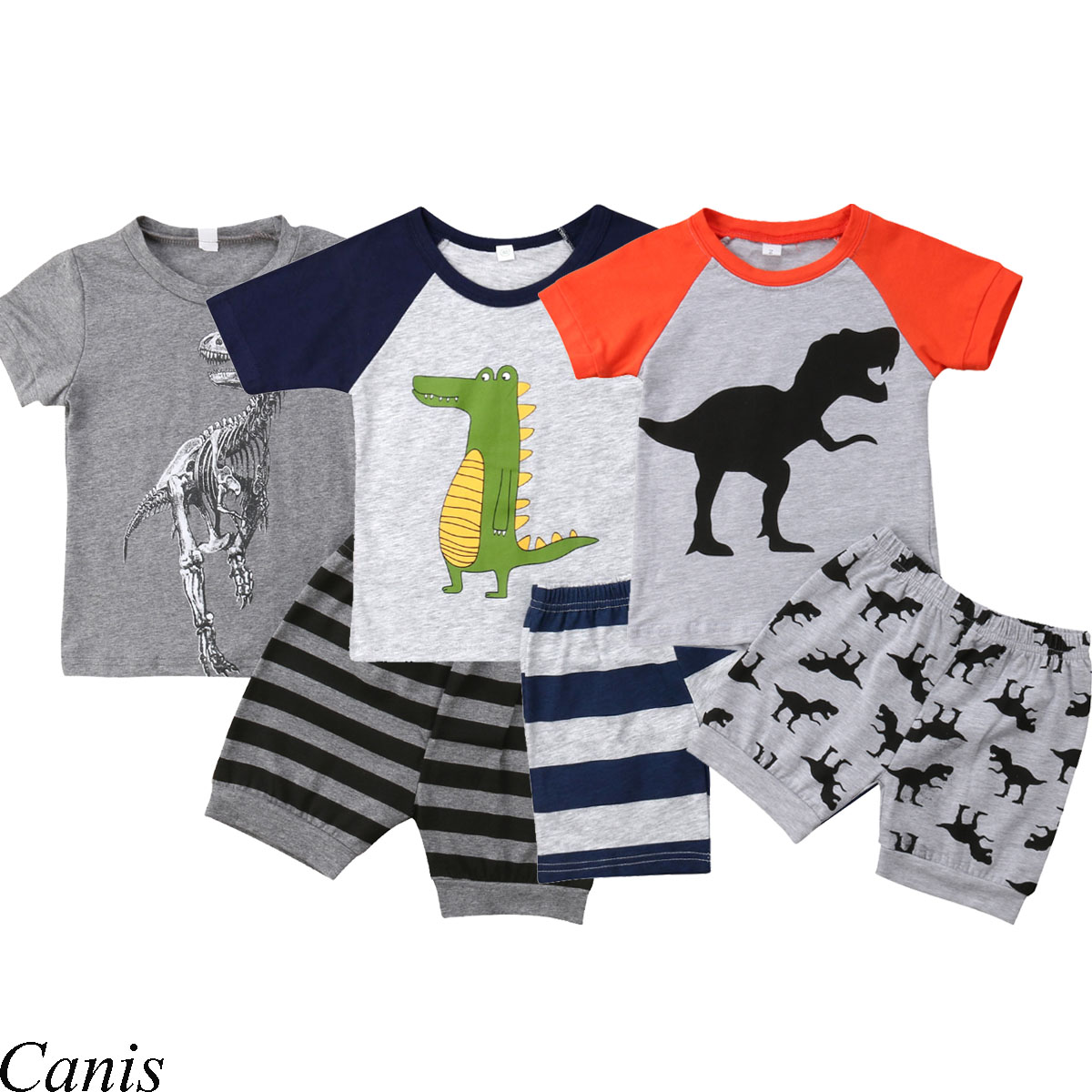 Toddler Baby Kids Boy Dinosaur Tops T-shirt Patchwork Short Pant Casual Outfit U
