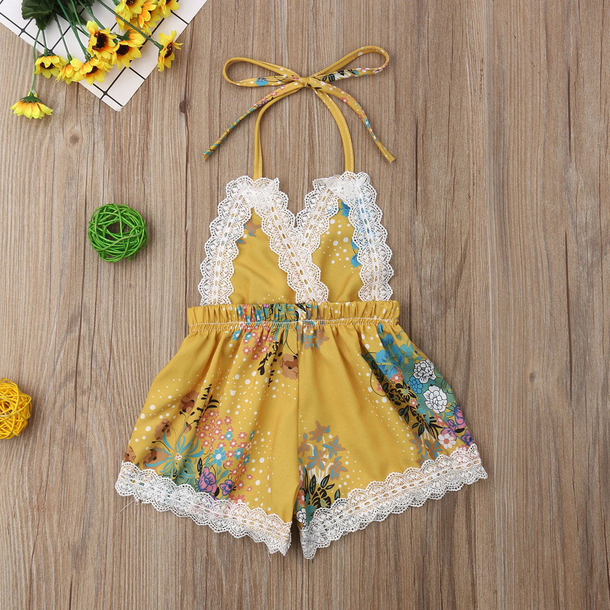 b67db5aac Details about USA Toddler Kid Baby Girls Sunflower Romper Bodysuit Jumpsuit  Outfit Clothes Set