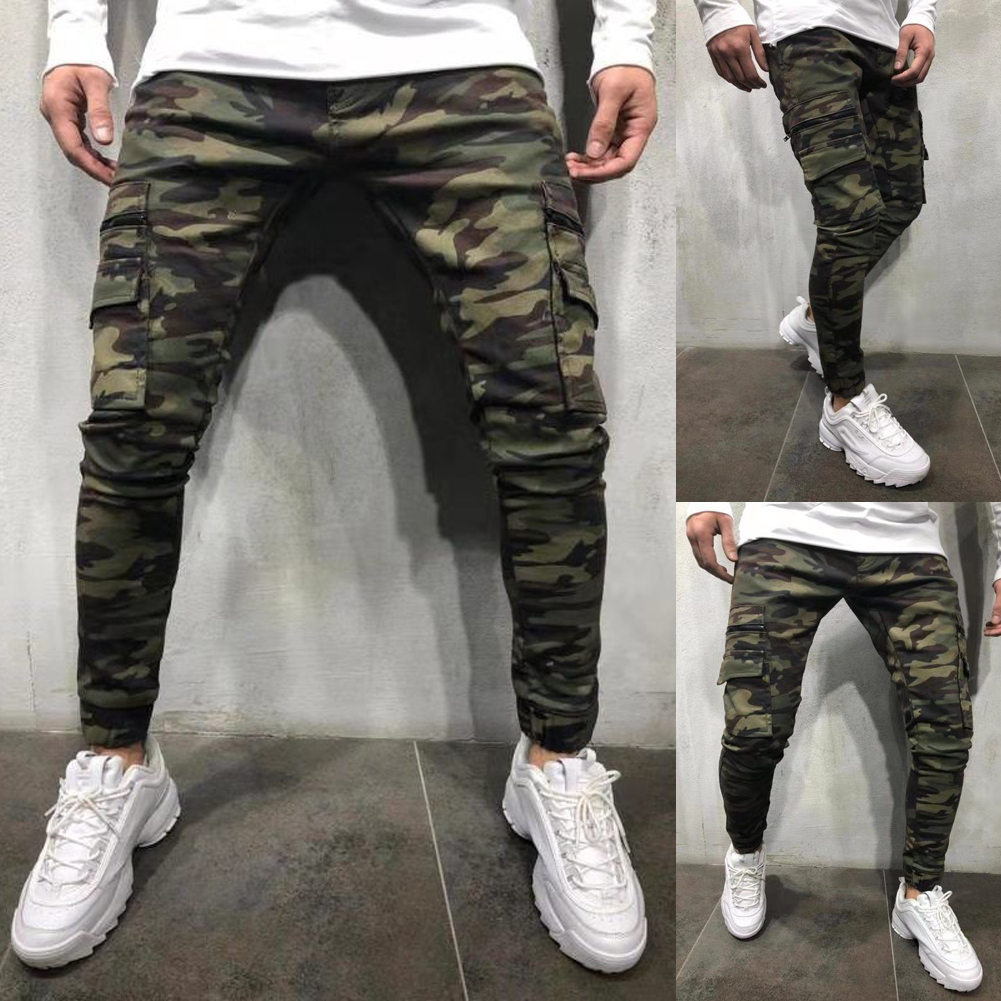 8aa06631 Details about MENS CAMO TAPERED LEG JOGGERS GYM TRACKIES SKINNY CUFFED  PANTS TRACK PANT ARMY