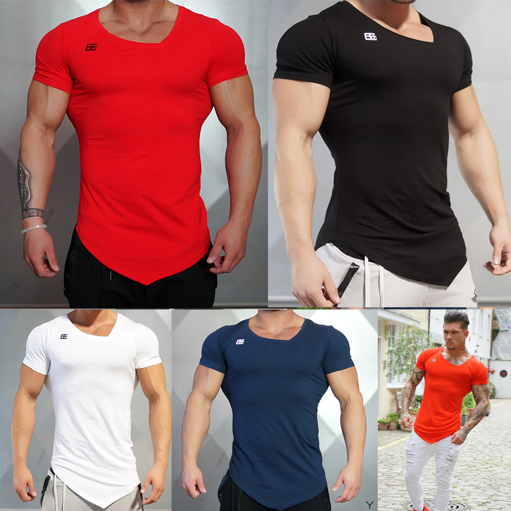 Stylish Men/'s Tee Shirt Slim Fit V-Neck Short Sleeve Muscle Casual Tops T Shirts