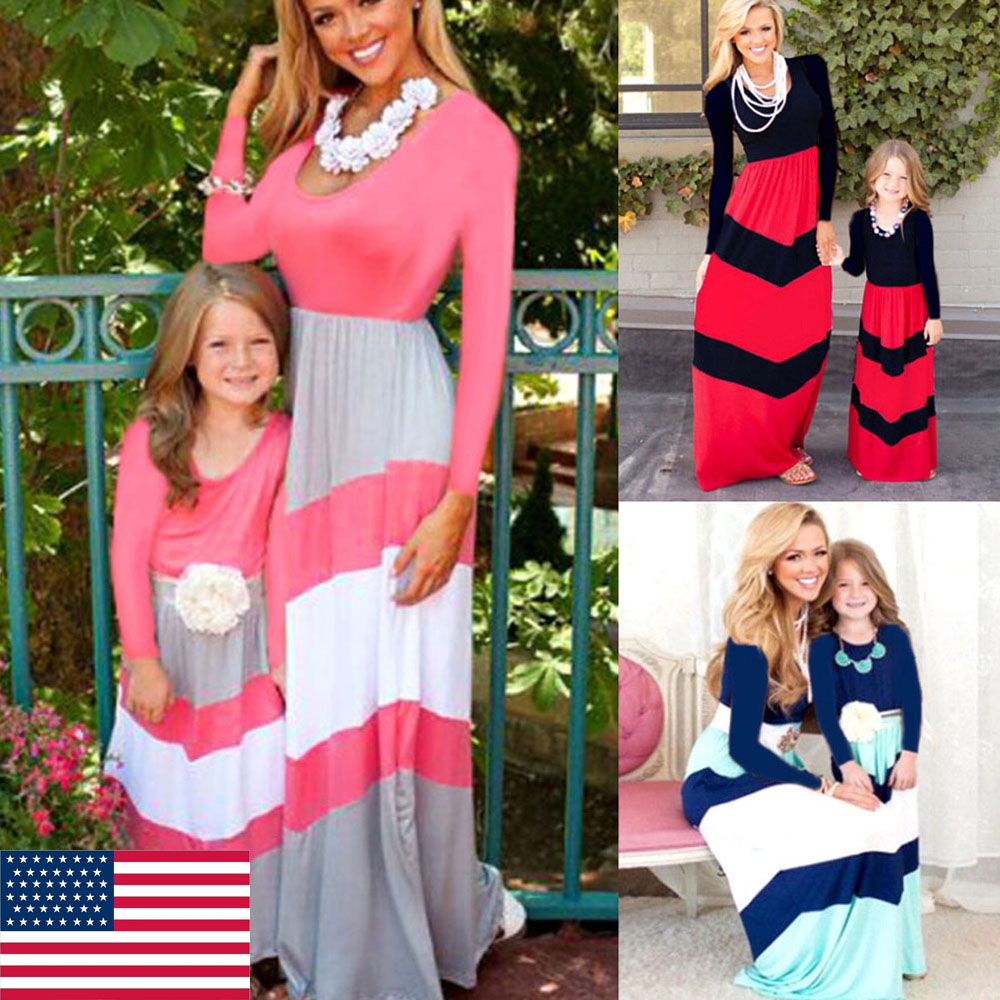 Mother and Daughter Kids Boho Stripe Maxi Dress Mommy/&Me Matching Set Outfits US