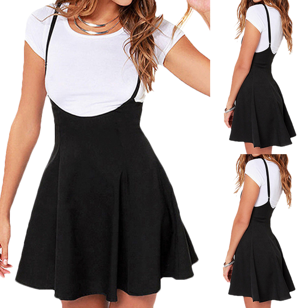 407f4aa147 Details about Women Mini Suspender Skater Skirt High Waisted Pleated  Adjustable Strap Dress