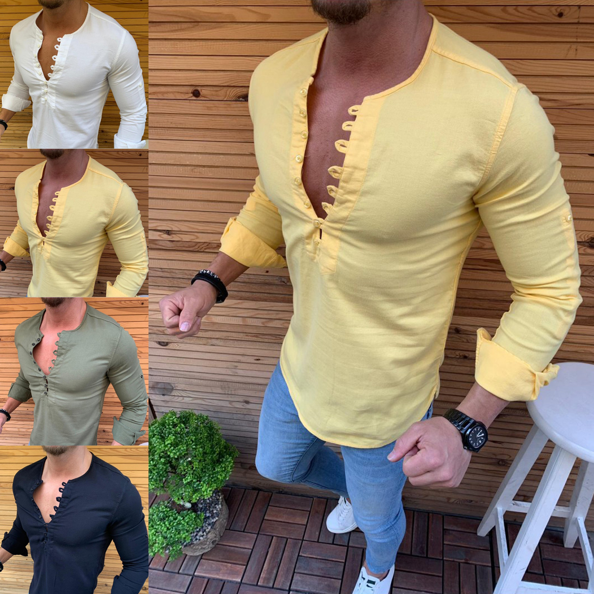 7862a1cd Details about Men's Muscle Casual Dress Shirts Slim Fit T-Shirt Long Sleeve  Formal Tops Luxury