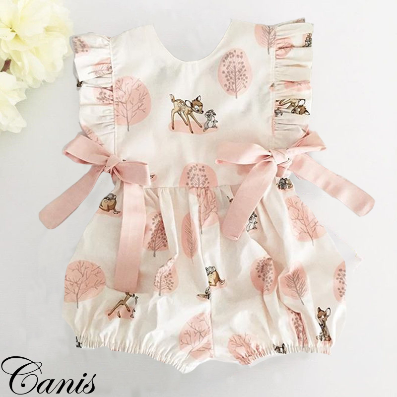 US Newborn Sling Romper Bodysuit Floral Jumpsuit Baby Girl Clothes Outfit Cute