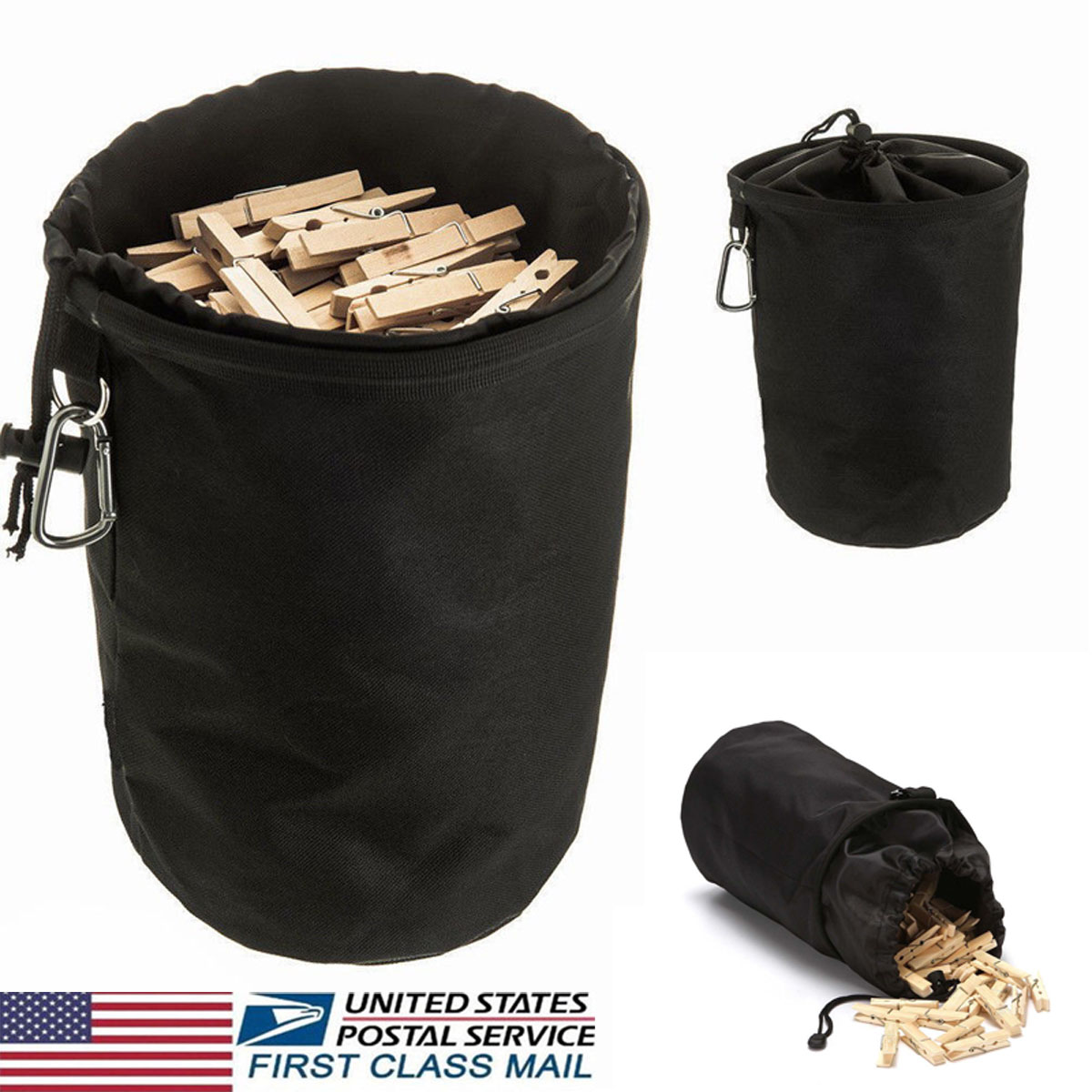 details about us hanging clothespin bag clothes pin drawstring laundry  sturdy storage holders#