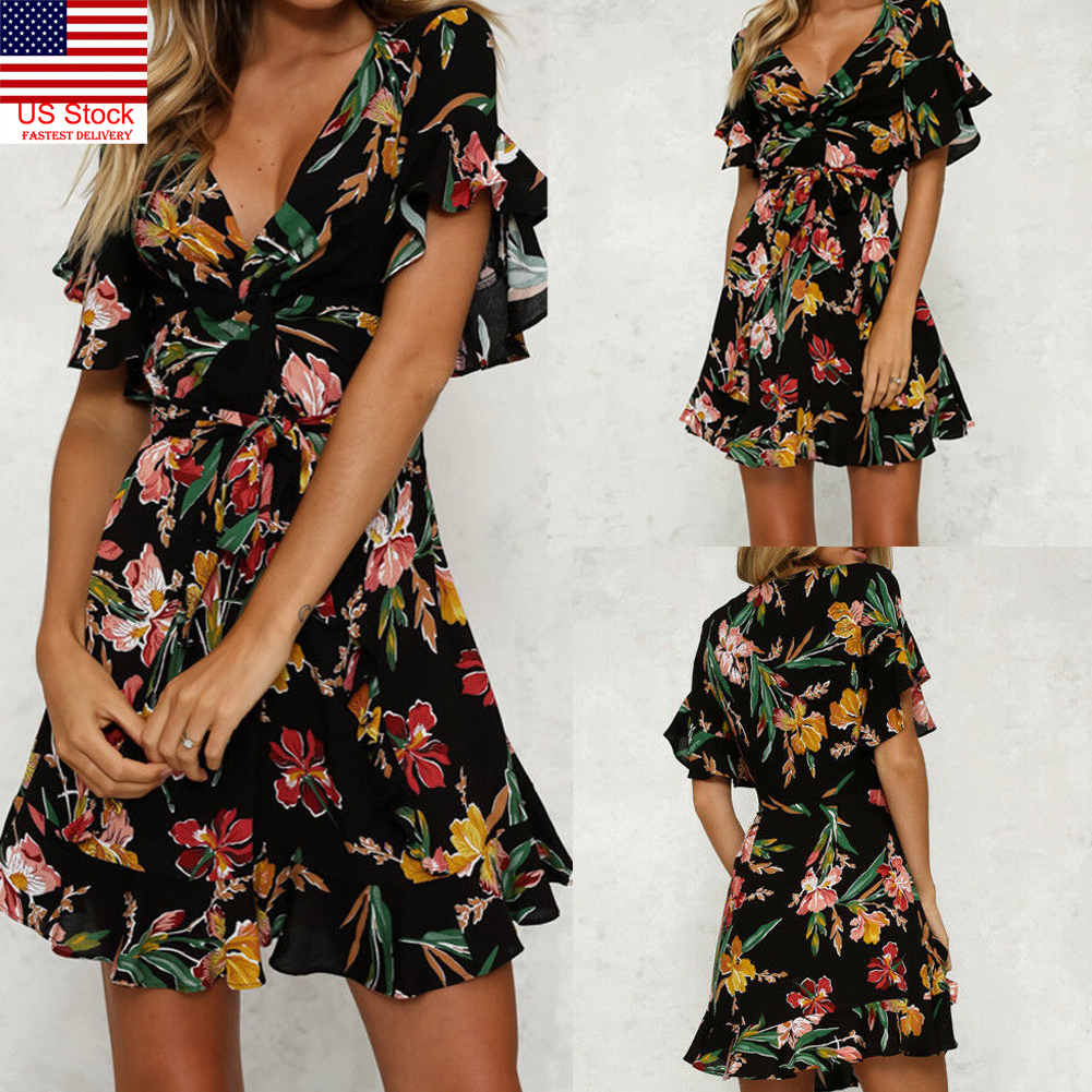 48b0380f738b US Womens Printing Wrap Dresses Short Sleeve Deep V-neck Ruffles ...