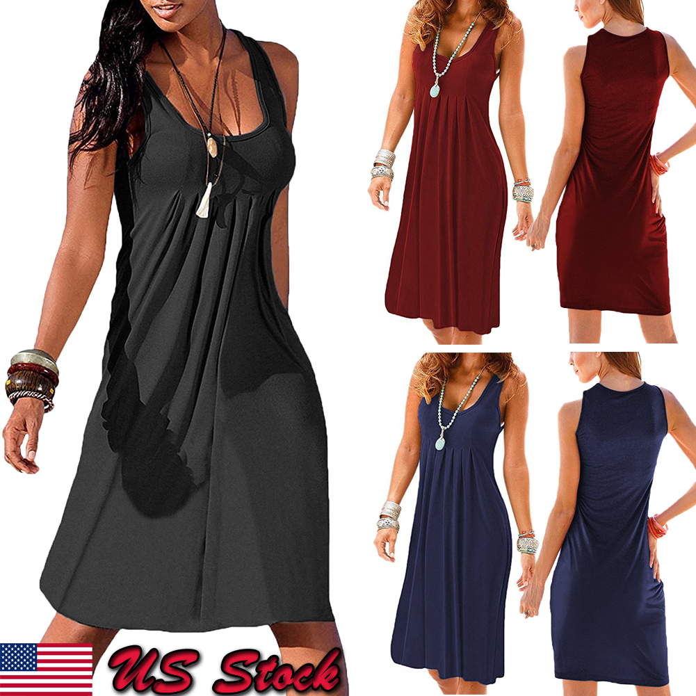 c34855cbb30 Details about US Womens Summer Cotton Vest Sleeveless Sundress Beach Loose  Dress Tank Top Size