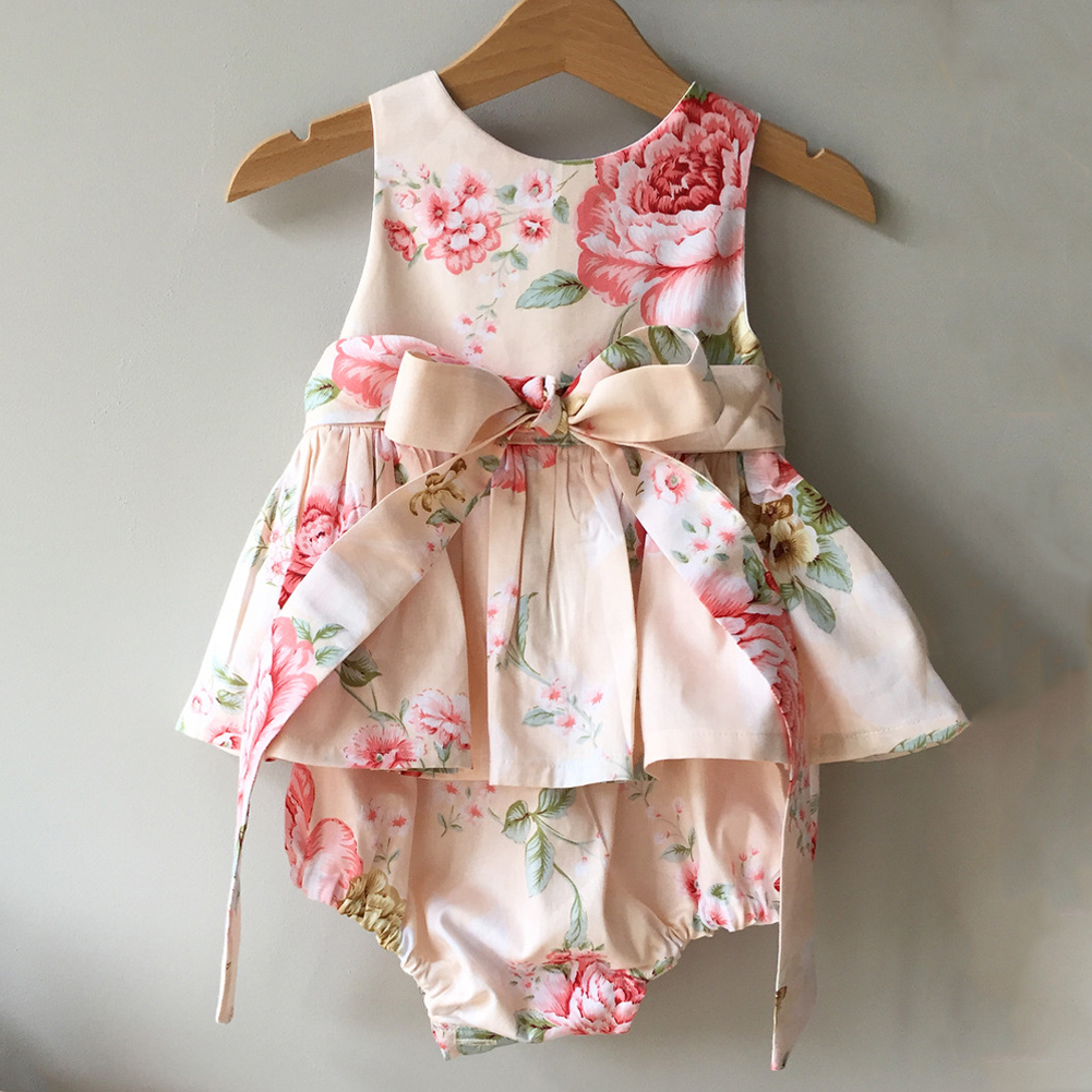 Newborn Baby Girl Summer Ruffle Cotton Romper sunsuit Jumpsuit Outfits Clothes