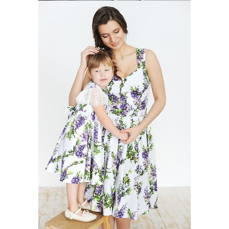 US Mommy and Me Family Matching Dress Mother Daughter Floral Sundress Kid Women