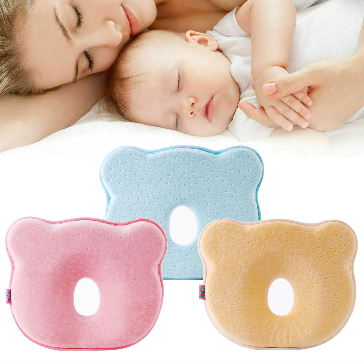 Baby Pillow Soft Infant Head Orthopedic Shaping Pillow Memory Foam Sleeping Cushion To Prevent Plagiocephaly Flat Head Syndrome Pink