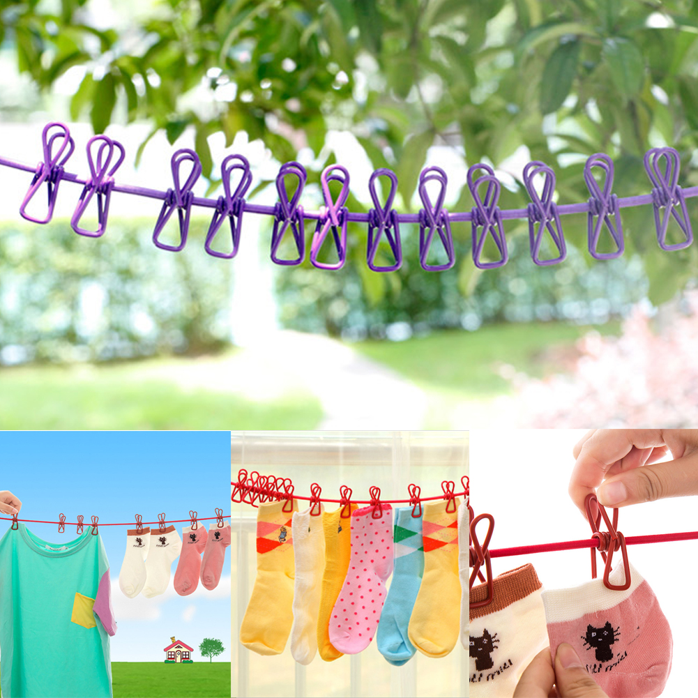 Creative Portable Clothesline with 12 Clips Indoor Outdoor Clothes Drying Rope