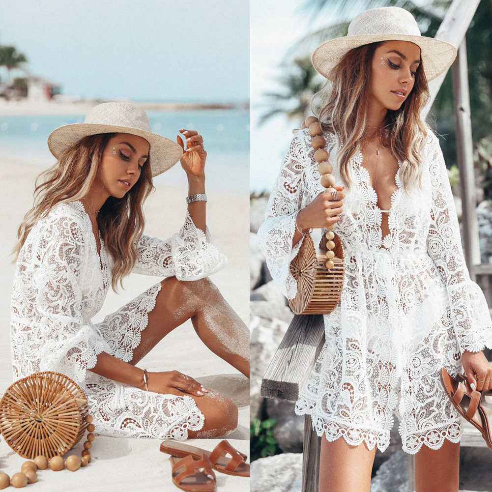 3ed07b3c21 Details about Women's Summer Bathing Suit Lace Crochet Bikini Swimwear  Cover Up Beach Dress US