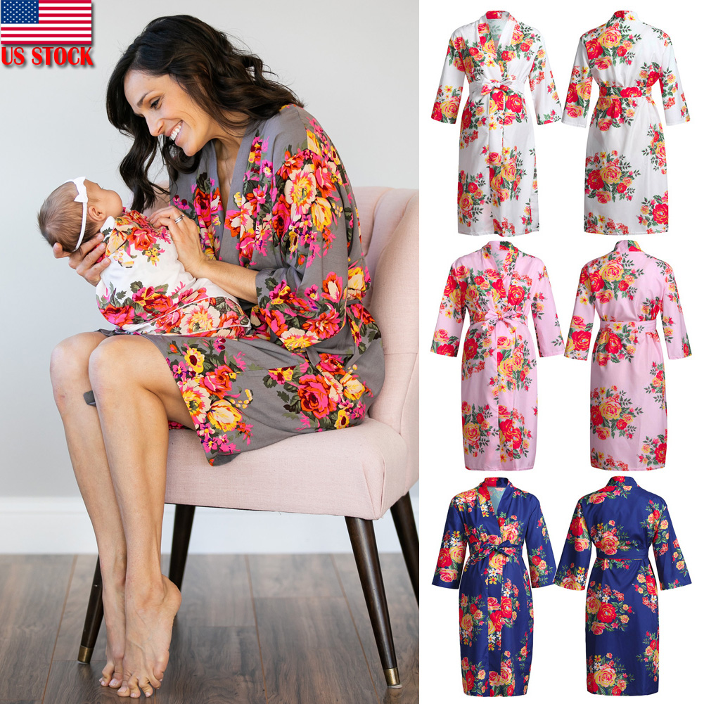 43f078686a1d8 Details about Ladies Maternity Casual Maxi Dress Women Pregnant Long Sleeve  V Neck Robe Dress