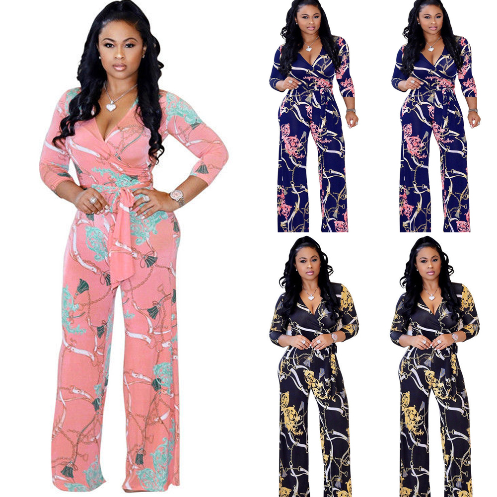 ae25ac59e4d Women s Sexy Floral Long Sleeve Playsuit Bodycon Party Jumpsuit ...