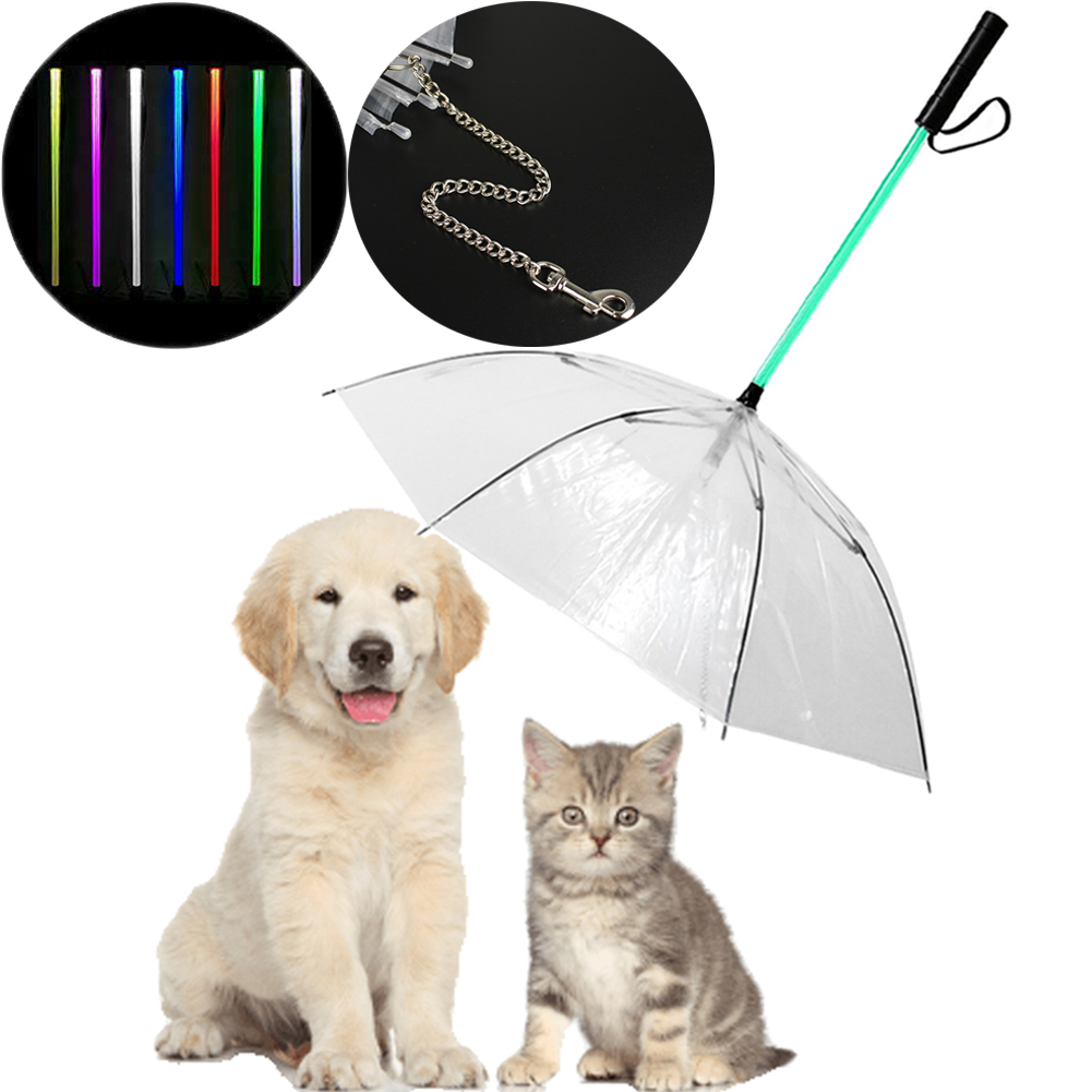 Dog Collars & Leads Transparent Pet Dog Umbrella Led 7 Changeable Color Glowing Umbrella Traction Rope For Small Medium Sized Dog Pet Supplies Pet Products