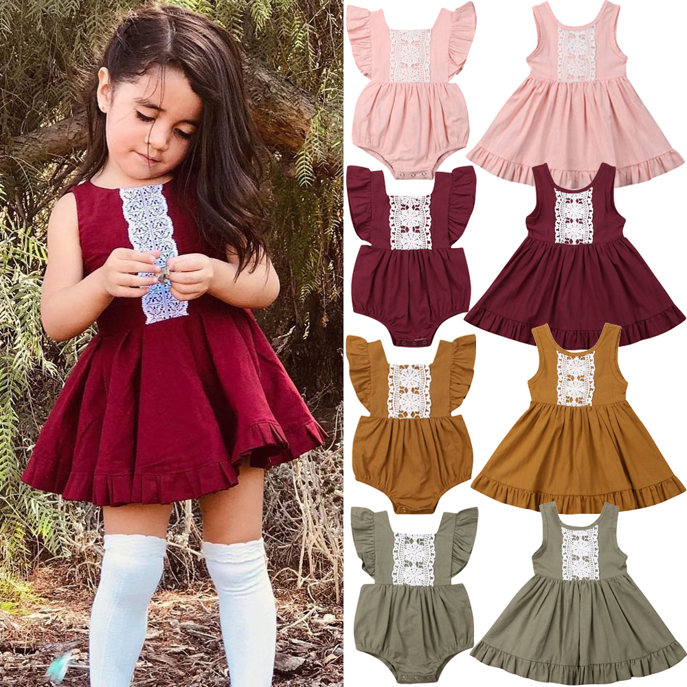 Little Big Sister Romper Dress Outfits Fashion Kids Baby Girl Matching Clothes