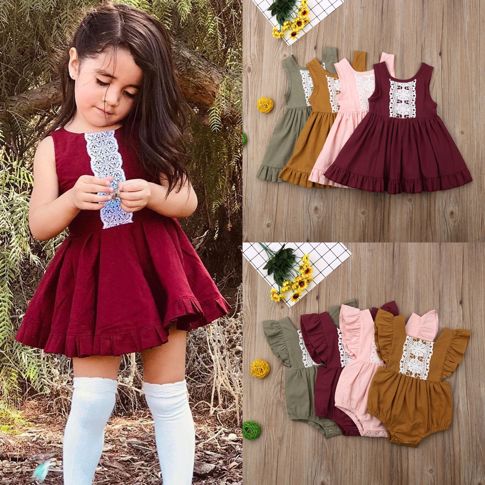 US Little//Big Sister Family Matching Clothes Kid Girl Floral Romper Dress Outfit