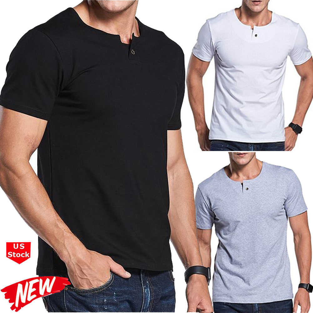 Men/'s Slim Fit O Neck Short Sleeve Muscle Tee T-shirt Casual Tops Henley Shirts