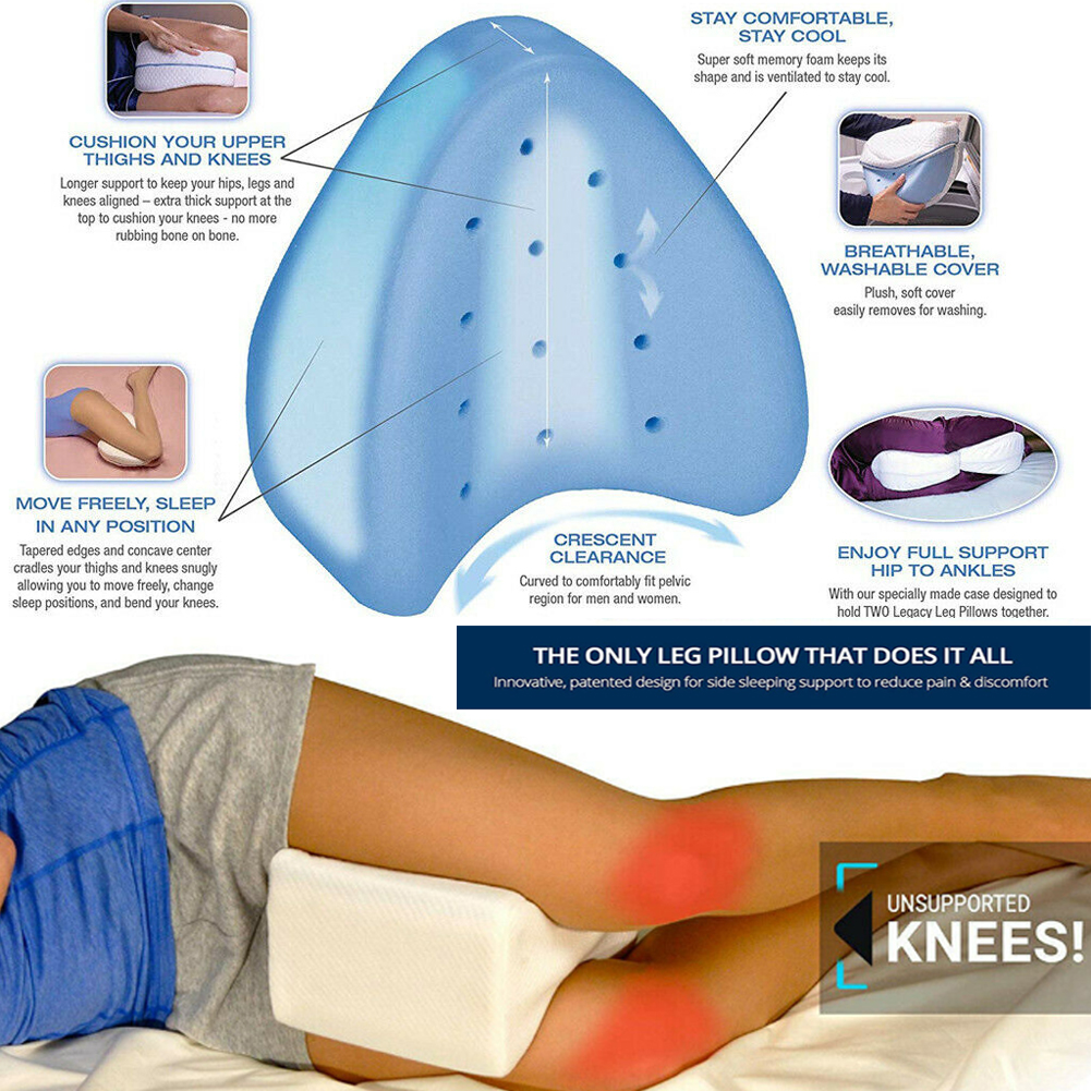 UK Memory Foam Contour Leg Pillow Bed Back Hips Knee Support Orthopaedic Firm