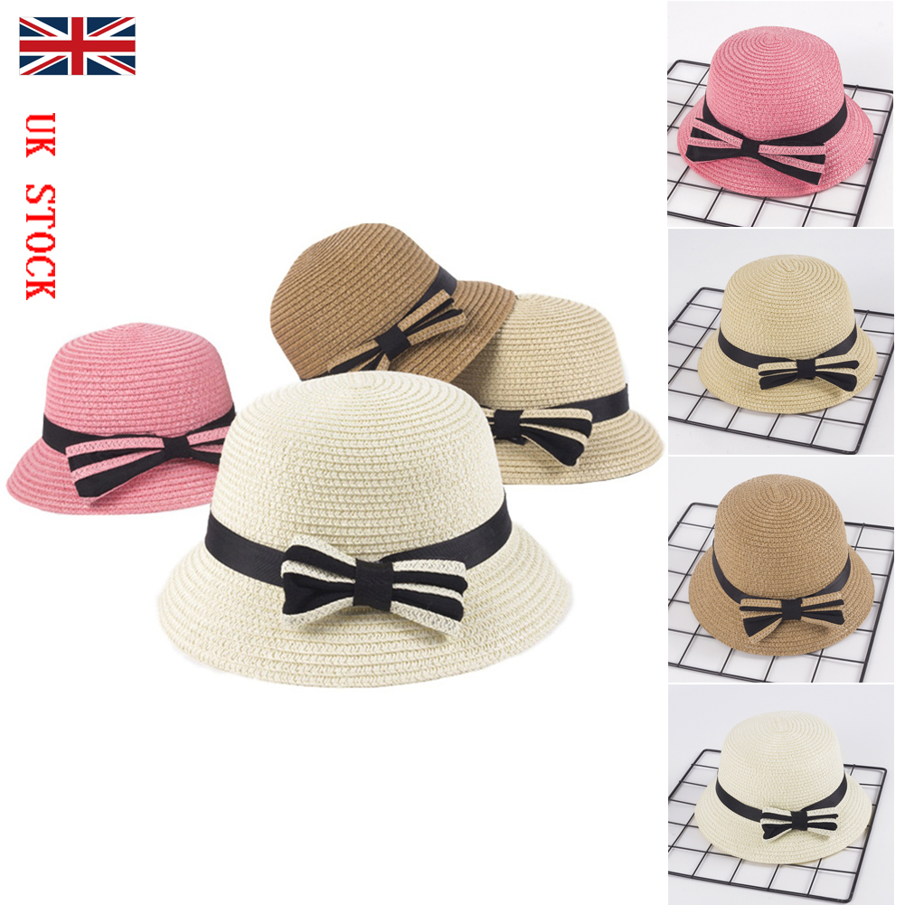 02dc8a42bbc8c Details about UK Lovely Toddler Kids Girls Floppy Sun Hats Wide Brim Caps  Summer Outdoor Beach
