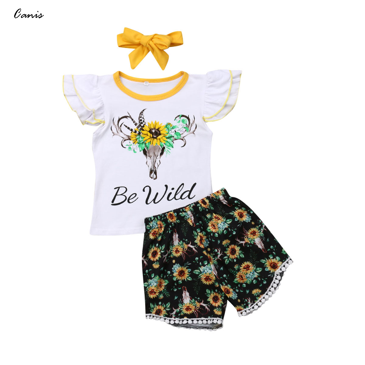LWXQWDS Toddler Kids Baby Girl Sunflower Tops T-Shirt+Denim Shorts Outfits