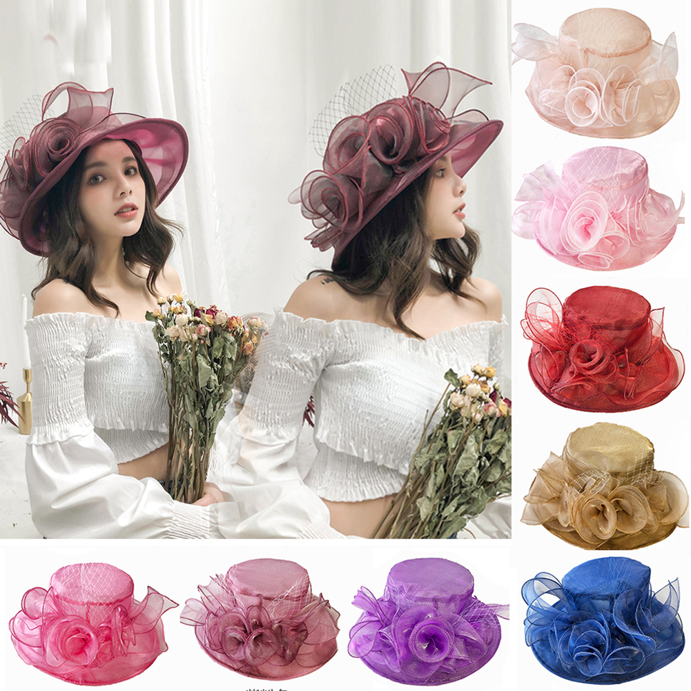 7df40474178ad Details about Women Kentucky Derby Sun Hat Wide Brim Wedding Tea Party  Church Organza Hats