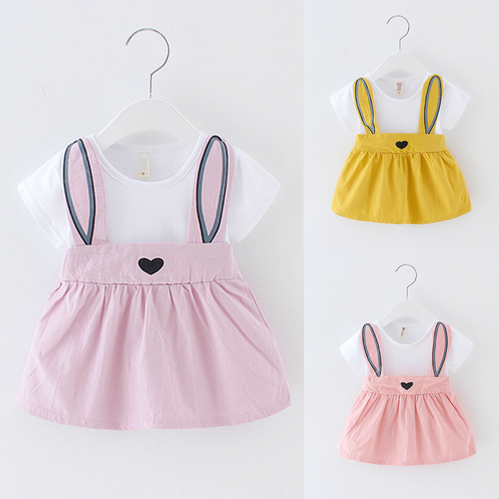 US Toddler Kids Baby Girl Rabbit Short Sleeve Dress Princess Party Tutu Dresses