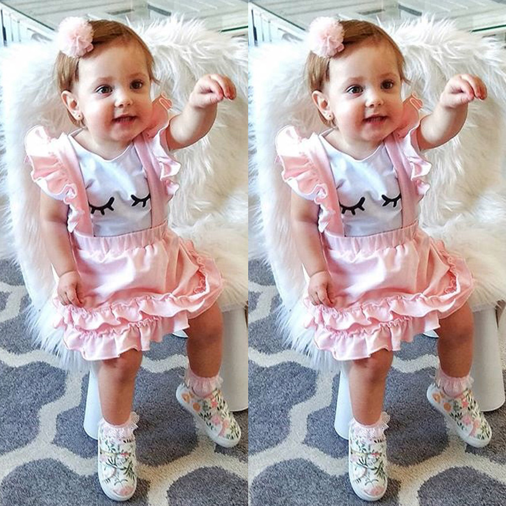 Details about cute toddler kid baby girl top t shirt suspender skirt dress 2pcs outfit clothes