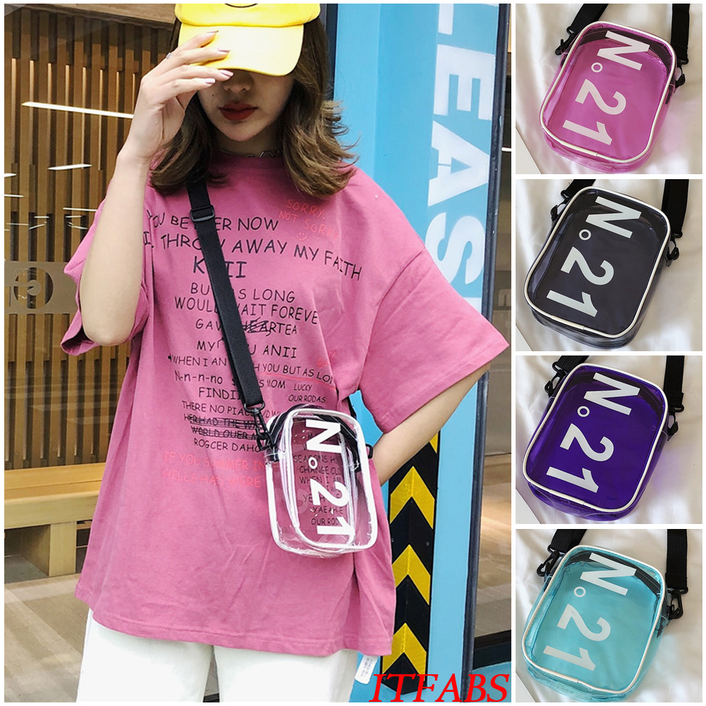 Details about UK Women Transparent Handbag Shoulder Bag Clear Jelly Purse  Clutch Plastic Tote