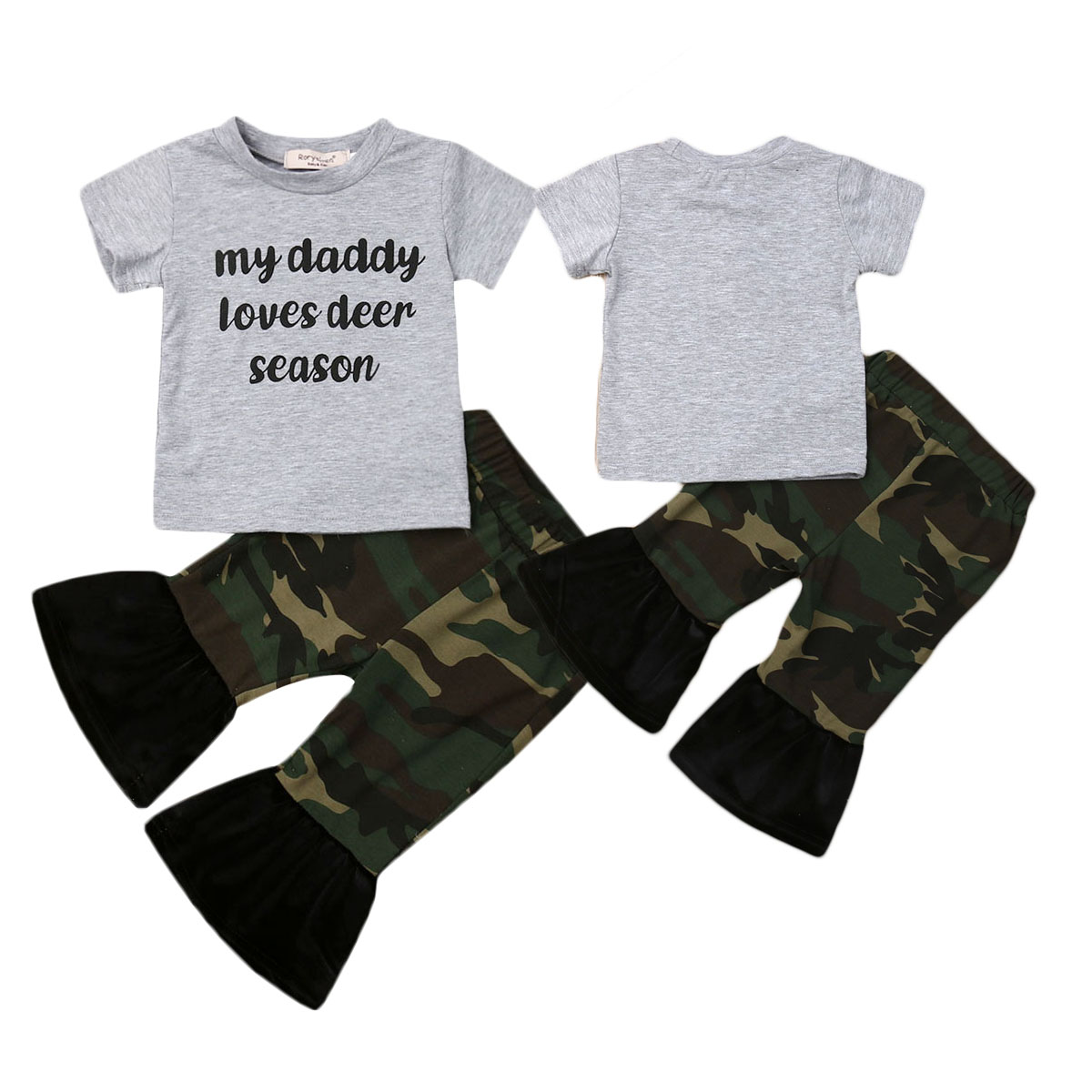 Newborn Baby Boy Girl Camouflage Short Sleeve T-shirt+Long Pants Outfit Clothes Set