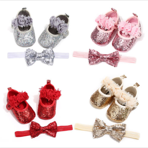 0-18M Newborn Toddler Baby Girl Sequins Bling PU Shoes Lace Bow Tie Slippers