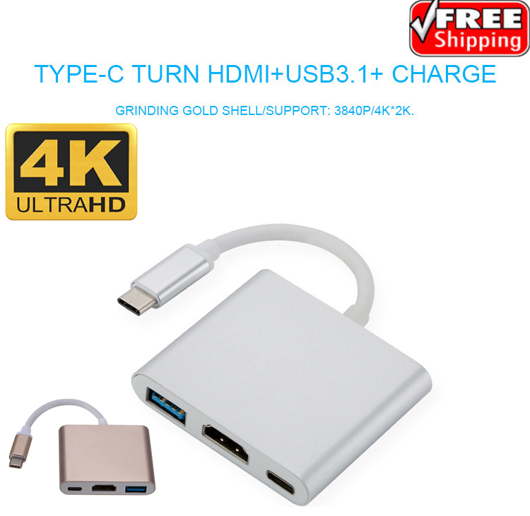 """USB 3.1 Charging Port for 12/"""" Mac USB3.1 Type-C to 3 USB 3.0 HUB Adapter Cable"""