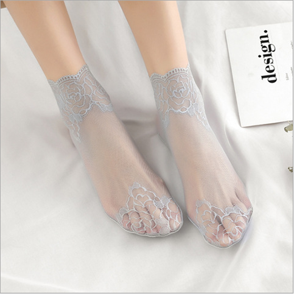 1071fbc37cfe7 Details about Women Sheer Mesh Lace Fish Net Short Socks Ruffle Fishnet  Soft Thin Ankle Socks