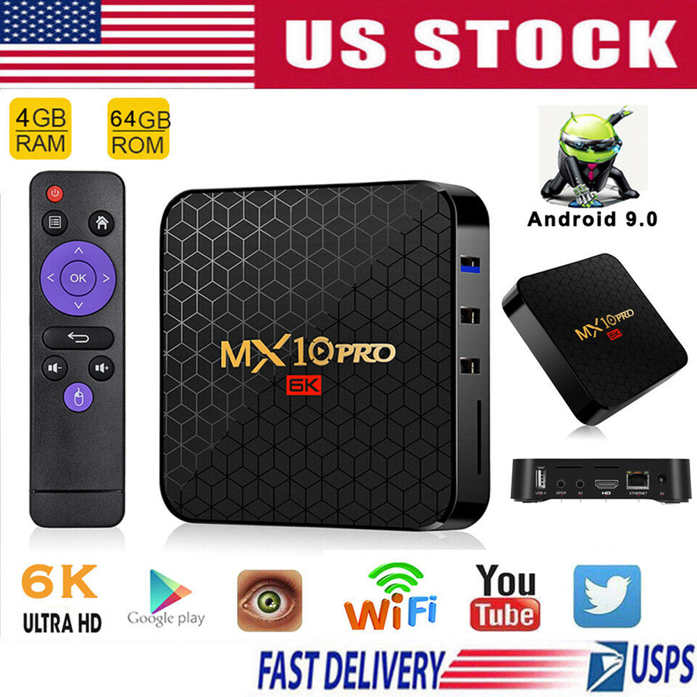 Details about MX10 Pro Android 9 0 6K TV Box 2 4G WIFI HDMI H 265 USB3 0 3D  Set Top Box 4+64GB