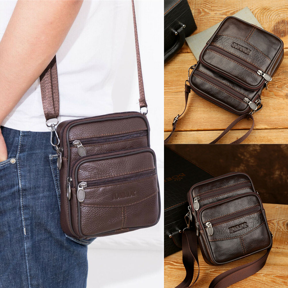 Mens Genuine Leather Hook Belt Waist Bag Wallet Phone Pouch Fanny Pack