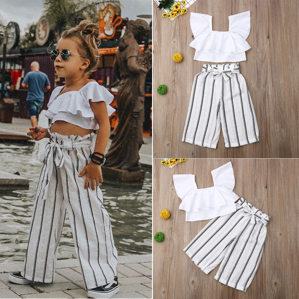 2PCS Toddler Girls Summer Clothes Ruffles Top Floral Stripe Pant Outfits Sunsuit