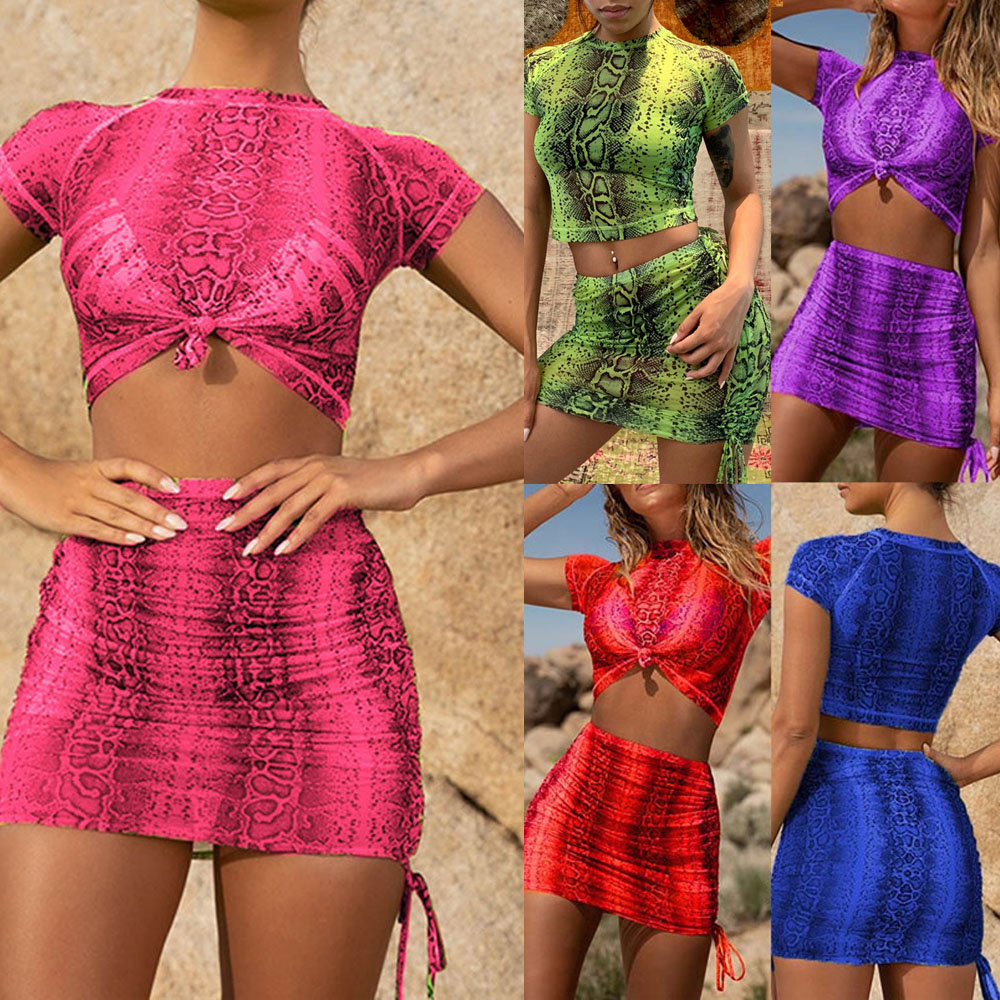 af73baf9fe221 Details about Women Lady 2 Piece Bodycon Two Piece Crop Top and Skirt Set  Lace Up Dress Party