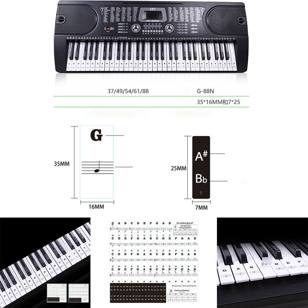 ❤ Removable Piano and Keyboard Stickers for 49 61 76 88 Transparent ❤