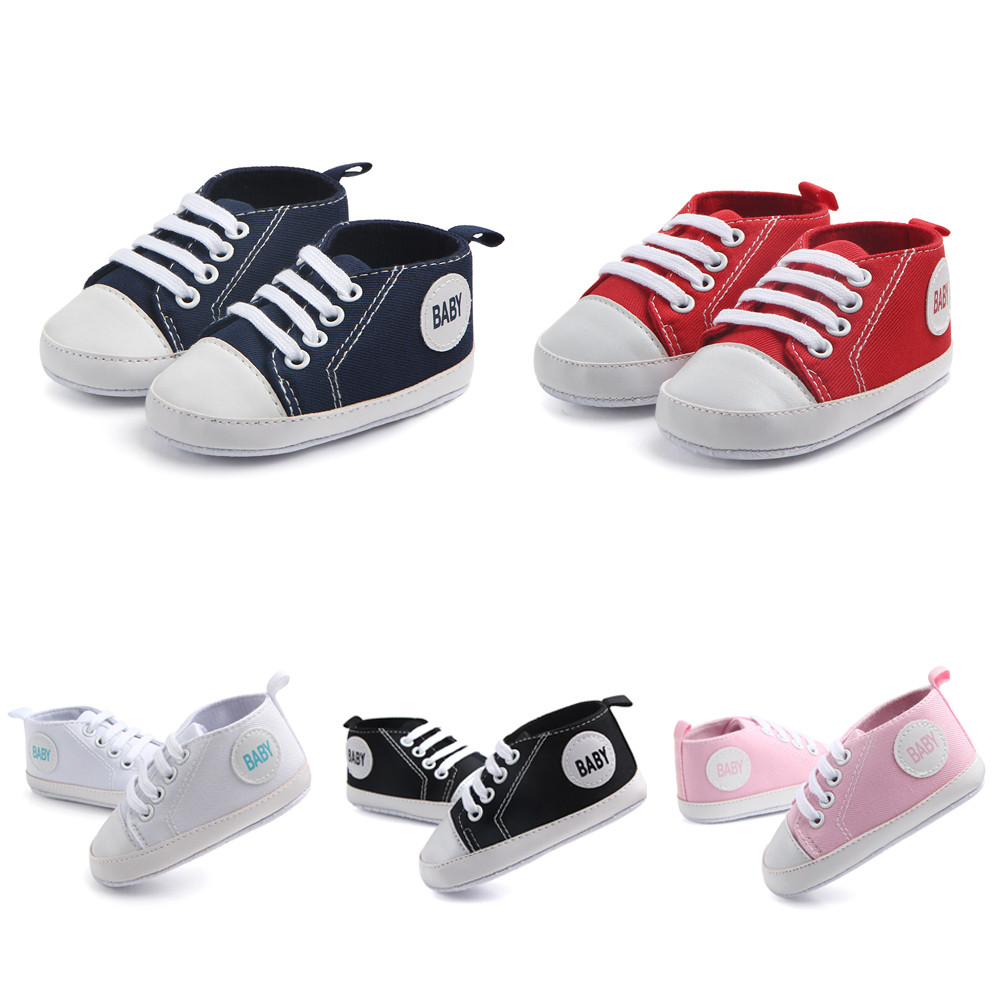 Baby Boys Girls Pram Shoes Soft Soled Newborn Toddler Infant Pre-Walker 0-18M UK