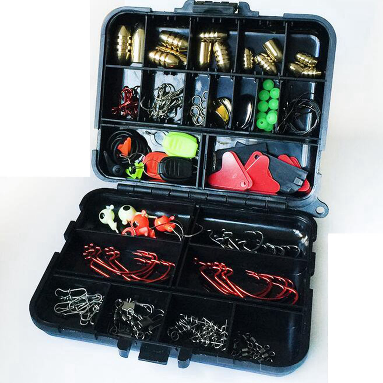 128Pcs Fishing Lures Hooks Baits Tackle Sinkers Box Full Storage Case