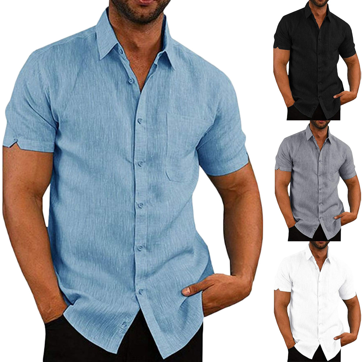 Mens Cotton Short Sleeve Summer Solid Shirts Casual Loose Dress Soft Tee Tops